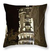 Madrid At Night Throw Pillow