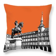 Madrid Skyline Plaza Mayor - Coral Throw Pillow