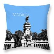 Madrid Skyline Retiro Park - Light Blue Throw Pillow