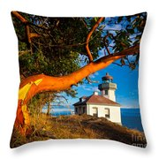 Madrone And Lighthouse Throw Pillow