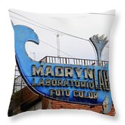 Madryn Lab Whale Sign Throw Pillow