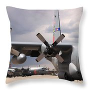 Maffs C-130s At Cheyenne Throw Pillow