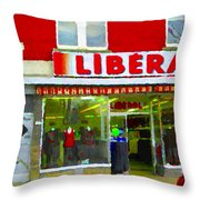 Magazin Liberal Dress Shop On Rue Notre Dame Montreal St.henri City Scenes Carole Spandau Throw Pillow
