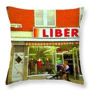 Magazin Liberal Notre Dame Ouest Dress Shop Strolling  St. Henri  Street Scenes Carole Spandau Throw Pillow