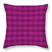 Magenta Checkered Pattern Cloth Background Throw Pillow