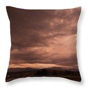 Magenta Clouds Throw Pillow