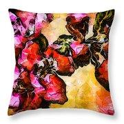 Magenta Flowers  -- Cubism Throw Pillow