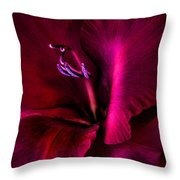 Magenta Gladiola Flower Throw Pillow
