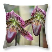 Magenta  Lady Slippers Throw Pillow
