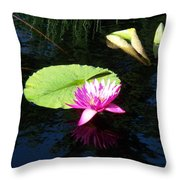 Magenta Lily Monet Throw Pillow
