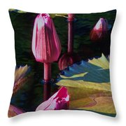 Magenta Lily Pads Throw Pillow