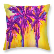 Magenta Palm Trees Throw Pillow