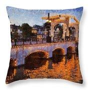 Magere Brug Bridge In Amsterdam Throw Pillow