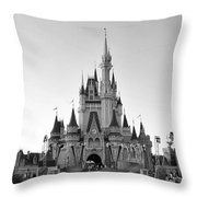 Magic Kingdom Castle In Black And White Throw Pillow