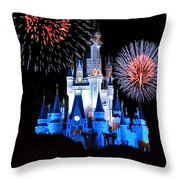 Magic Kingdom Castle In Blue With Fireworks Throw Pillow