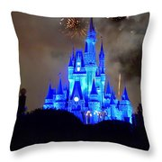 Magic Kingdom Castle In Deep Blue With Fireworks Throw Pillow