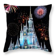 Magic Kingdom Castle In Frosty Light Blue With Fireworks 06 Throw Pillow