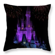 Magic Kingdom Castle In Purple With Fireworks 01 Throw Pillow