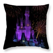 Magic Kingdom Castle In Purple With Fireworks 02 Throw Pillow