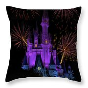 Magic Kingdom Castle In Purple With Fireworks 03 Throw Pillow