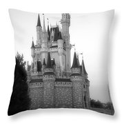 Magic Kingdom Castle Side View In Black And White Throw Pillow