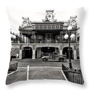 Magic Kingdom Train Station In Black And White Walt Disney World Throw Pillow