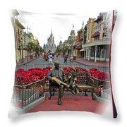 Magic Kingdom Walt Disney World 3 Panel Composite Throw Pillow