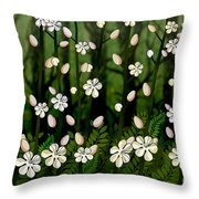 Magical Blooms Of The Deep Forest Throw Pillow