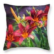Magical Evening Daylilies Throw Pillow