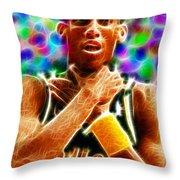 Magical Reggie Miller Choke Throw Pillow by Paul Van Scott