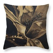 Magnolia Blossom In Sepia Throw Pillow