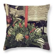 Magnolia Christmas Candle Colonial Williamsburg Throw Pillow