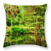 Magnolia Plantation Gardens Throw Pillow