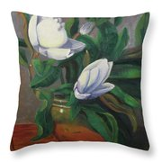 Magnolias On Brass Throw Pillow by Lilibeth Andre