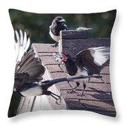 Magpie Dispute Throw Pillow