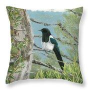 Magpie In Alaska Throw Pillow