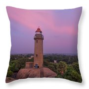 Mahabalipuram Lighthouse India At Sunset Throw Pillow