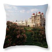 Maharaja's Palace And Garden India Mysore Throw Pillow