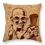 Mahatma Gandhi Coffee Painting Throw Pillow