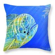 Mahi Mahi And Flying Fish Throw Pillow
