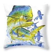 Mahi Mahi Throw Pillow by Carey Chen