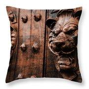Mahogany Lion Heads Throw Pillow