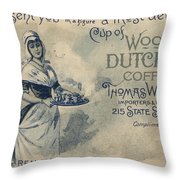 Maid Serving Coffee Advertisement For Woods Duchess Coffee Boston  Throw Pillow