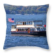 Mail Delivery Boat Lake Geneva Wisconsin Throw Pillow