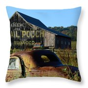 Mail Pouch Barn And Old Cars Throw Pillow