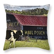 Mail Pouch Barn With Cow Throw Pillow