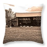 Mail Pouch Tobacco Barn And Sheep Throw Pillow