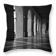 Main Building Arches University Of Texas Bw Throw Pillow