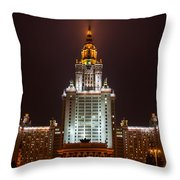Main Building Of Moscow State University At Winter Evening - 2 Featured 3 Throw Pillow