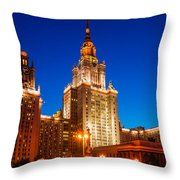 Main Building Of Moscow State University At Winter Evening - 4 Throw Pillow